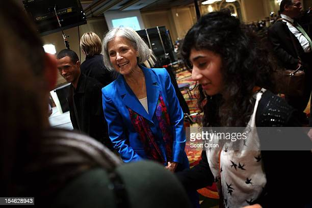 Green Party presidential candidate Jill Stein speaks to supporters prior to al debate hosted by the Free and Equal Elections Foundation and moderated...