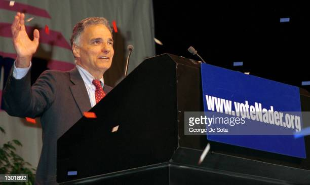 Green party presidential candidate Ralph Nader speaks October 13 2000 at a rally at Madison Square Garden in New Yor City