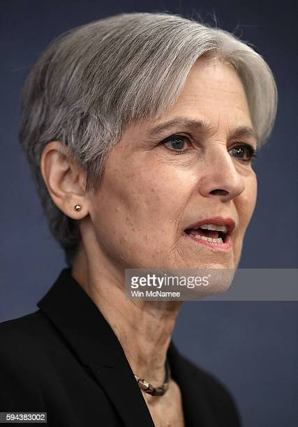Green Party presidential nominee Jill Stein answers questions during a press conference at the National Press Club August 23 2016 in Washington DC...