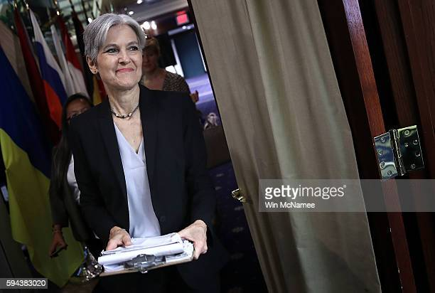 Green Party presidential nominee Jill Stein arrives for a press conference at the National Press Club August 23 2016 in Washington DC Stein discussed...