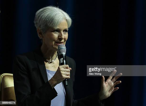 Green Party presidential nominee Jill Stein speaks during a 2016 Presidential Election Forum hosted by Asian and Pacific Islander American Vote and...