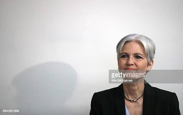 Green Party presidential nominee Jill Stein waits to be introduced prior to a press conference at the National Press Club August 23 2016 in...