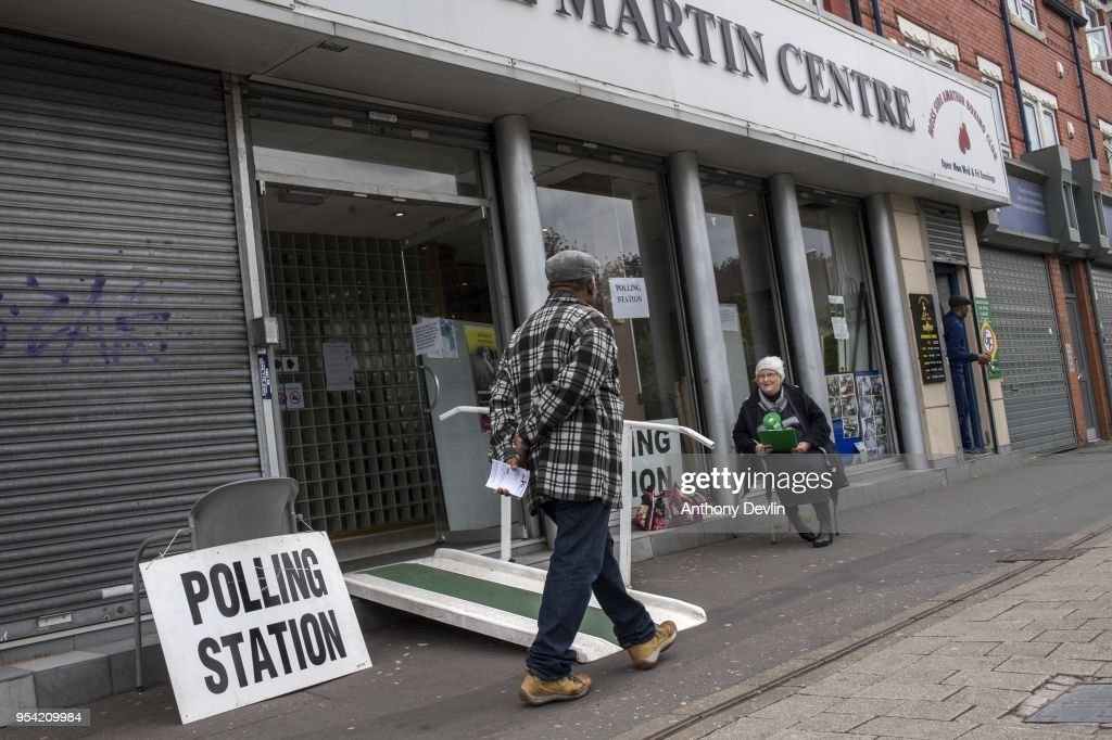 A Green Party supporter counts voters at a Polling station in the Phil Martin Centre in Moss Side on May 3, 2018 in Manchester, England. Voters are heading to the polls today for council and mayoral elections across England.