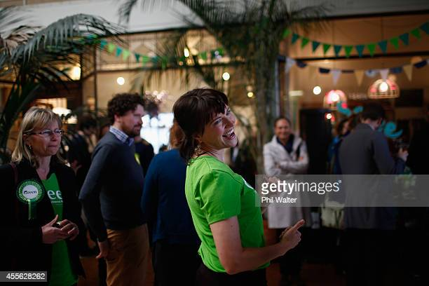 Green Party supporter Lucy Lawless during the Green Party election campaign event at St Kevins Arcade in Auckland on September 18 2014 in Auckland...