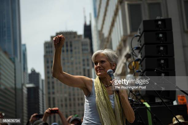 Green Patry Presidential candidate Dr Jill Stein speaks to proBernie Sanders supporters outside City Hall in Philadelphia on July 26 2016 Many...