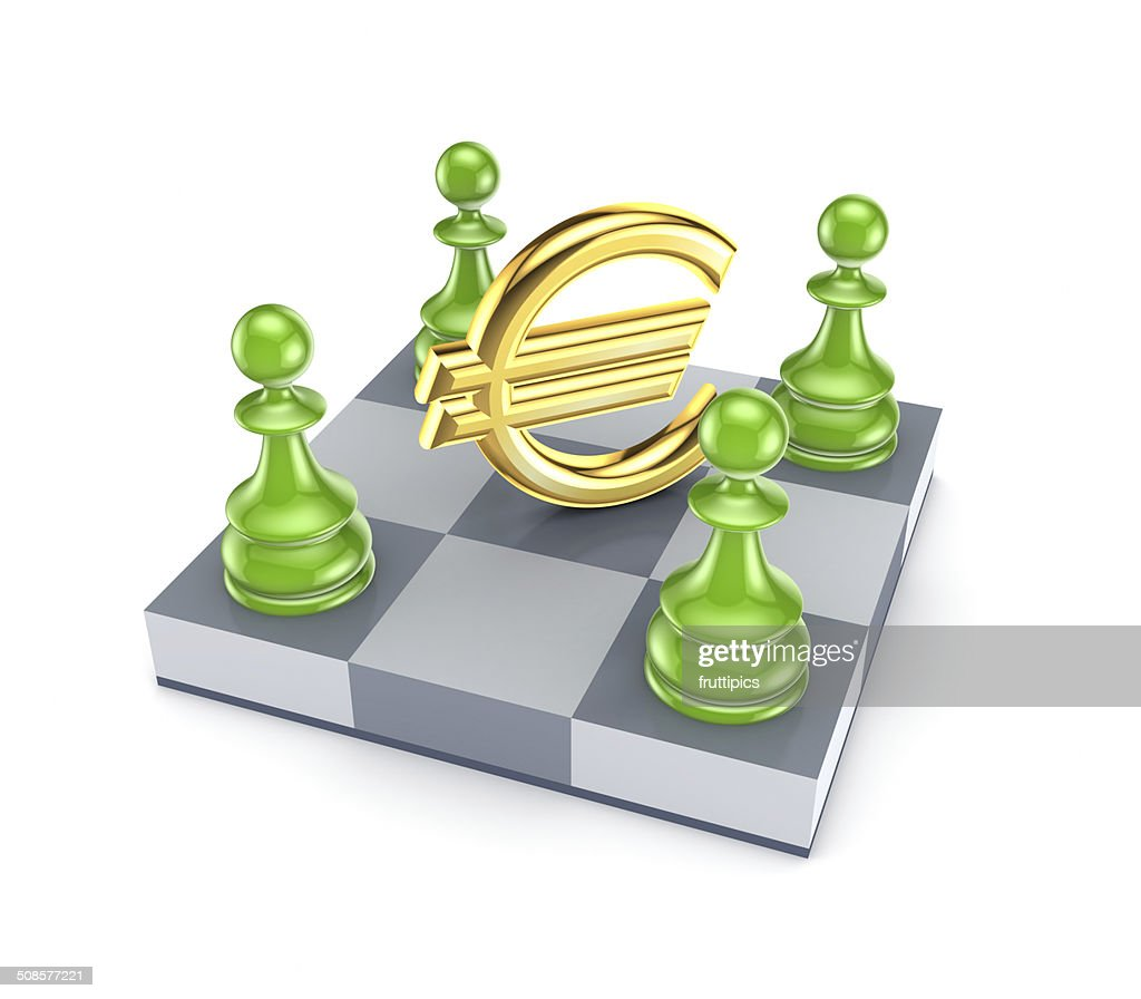 Green pawns around euro sign. : Stock Photo