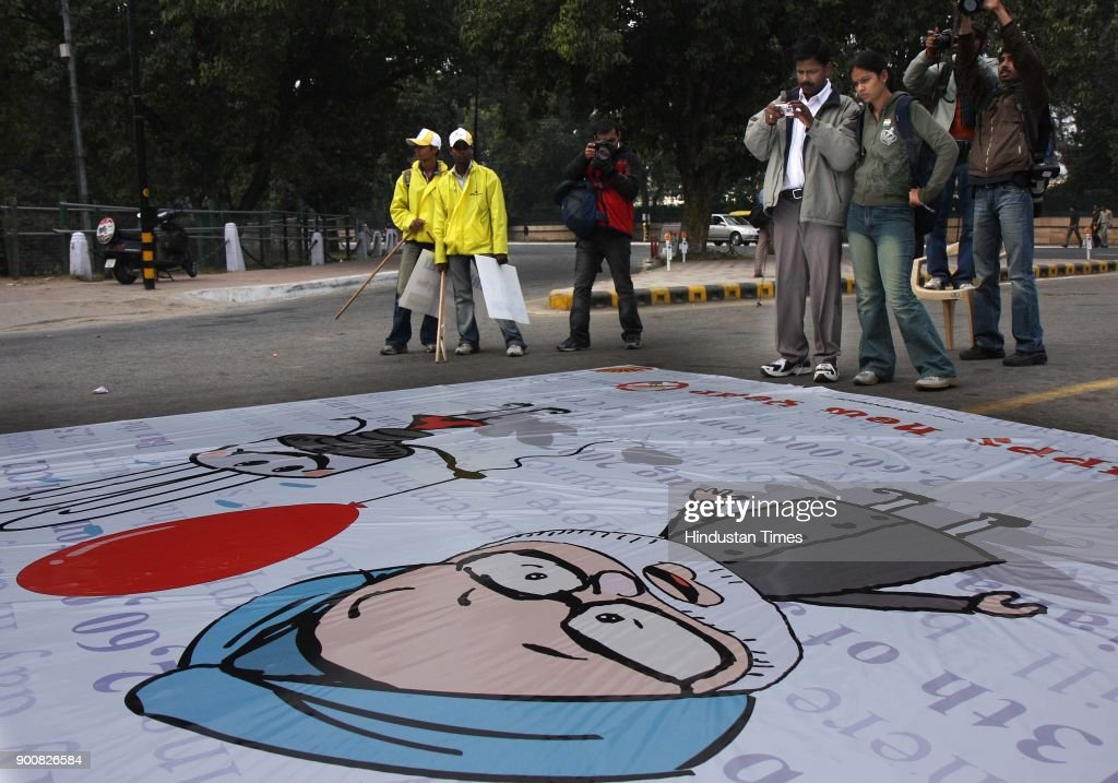 Green Peace protest against the C0 2emission at the India Gate on January 8, 2008 in New Delhi, India.