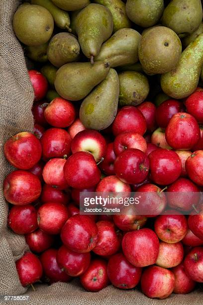 Green pears and red apples in a sack