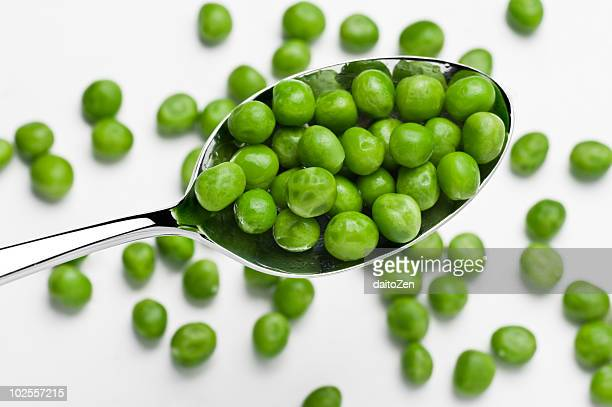 Green peas on a spoon