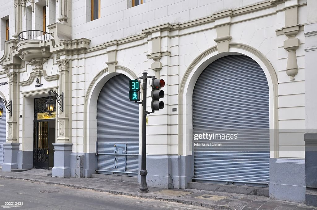 Green Pedestrian Traffic Light in Lima, Peru : Stock Photo