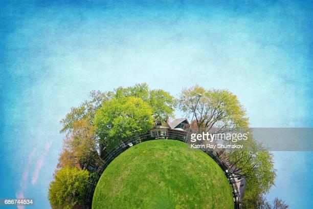 green planetoid of spring - fish eye foto e immagini stock