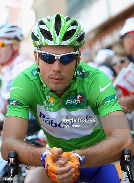 Green points jersey holder Oscar Freire of Spain and Rabobank waits for the start of stage eleven of the 2008 Tour de France from Lannemezan to Foix...