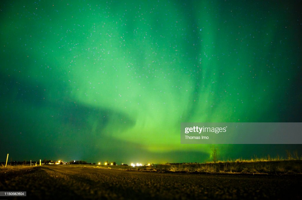 Green Polar Lights In The Sky Pictured On March 29 2019 In Selfoss