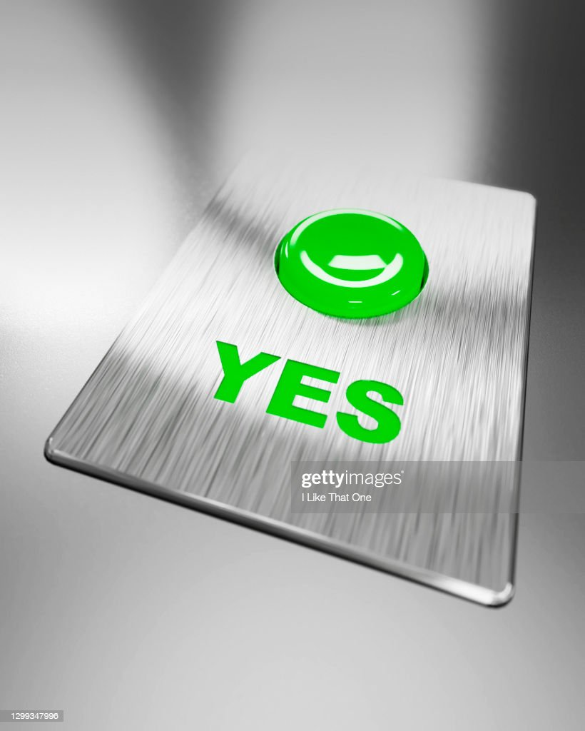 Green Positive Yes Button Illuminated : Stock Photo