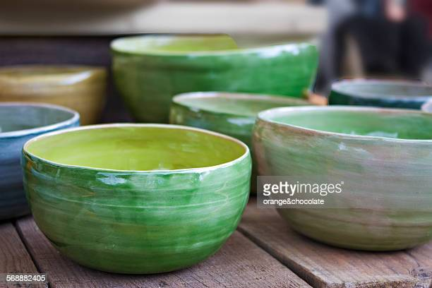 green pottery - ceramic stock photos and pictures