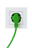 A green power cord plugged into a white wall