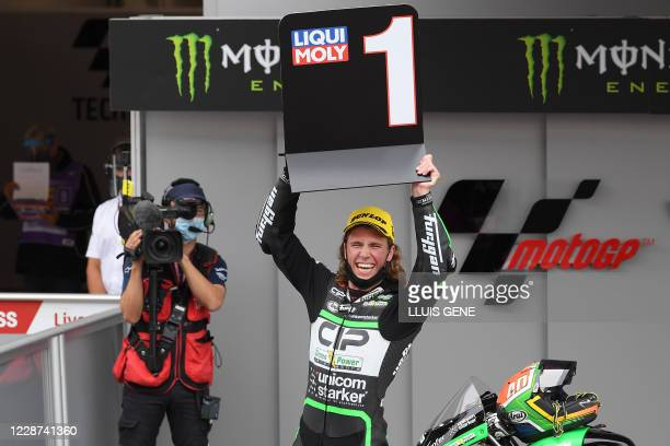 Green Power's South African rider Darryn Binder celebrates after winning the Moto3 race of the Moto Grand Prix de Catalunya at the Circuit de...