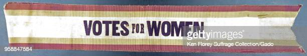 Green purple and white parade sash with black text reading 'Votes for Women ' produced by Harriot Stanton Blatch's Women's Political Union for the...