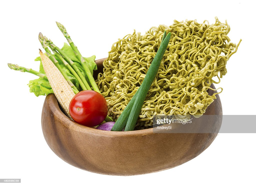 Green raw noodles : Stock Photo