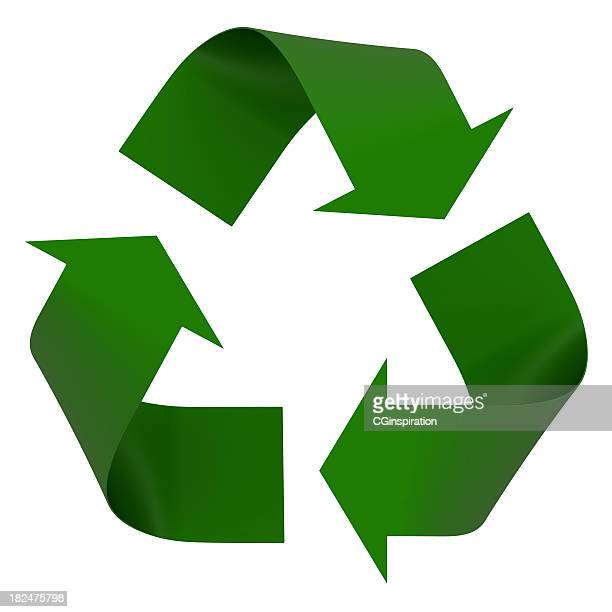 a green recycling symbol is on a white background  - symbol stock pictures, royalty-free photos & images