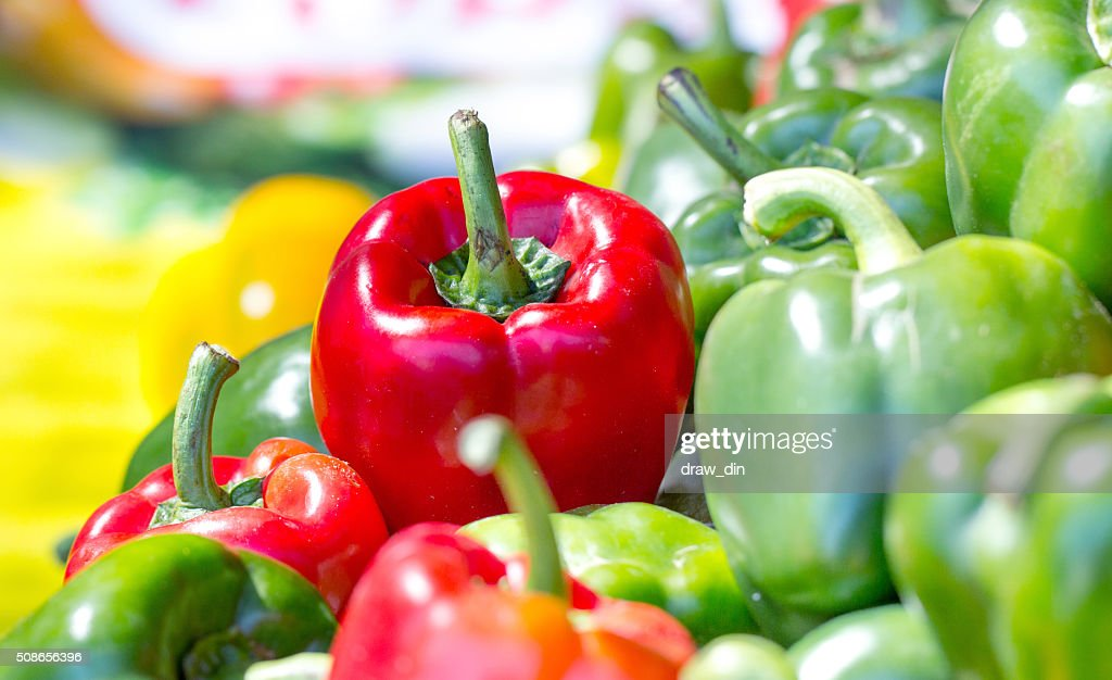 green ,Red  and yellow sweet bell peppers natural background. : Stock Photo