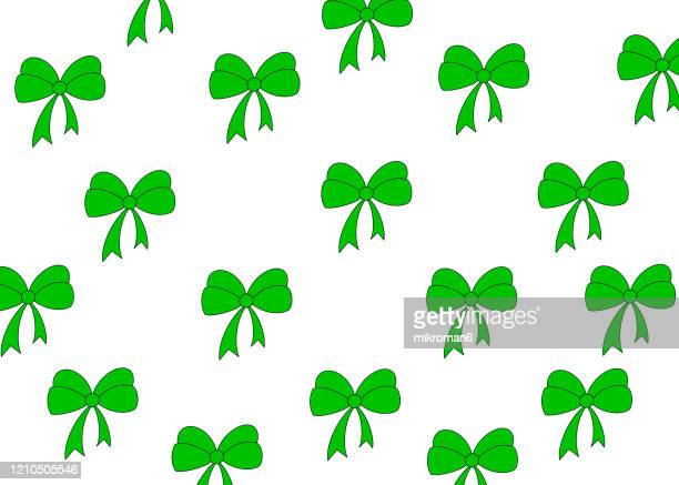 green ribbons background - birthday stock pictures, royalty-free photos & images