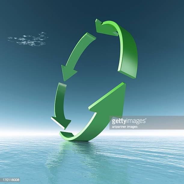 Green Ring made of Arrows above the sea