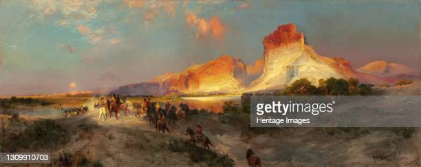 Green River Cliffs, Wyoming, 1881. Artist Thomas Moran. .