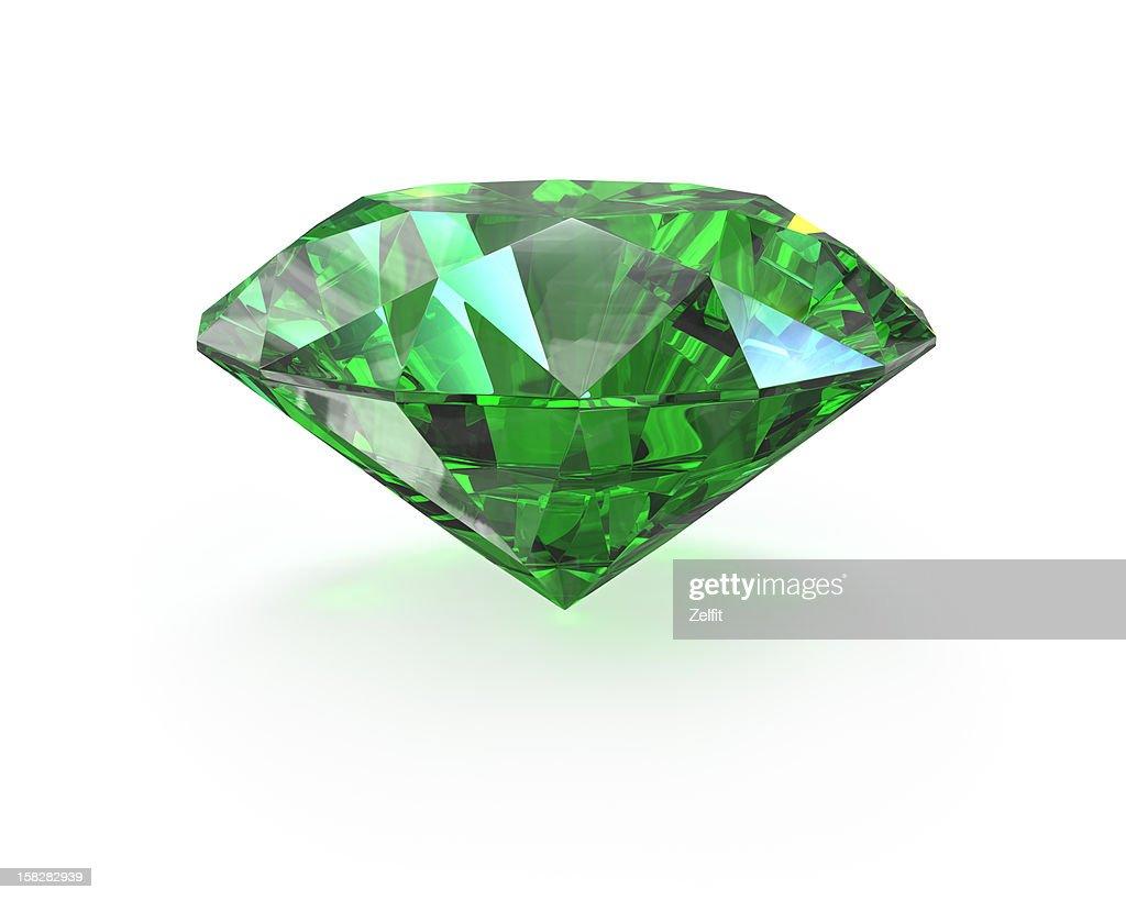 Green round cut emerald : Stock Photo