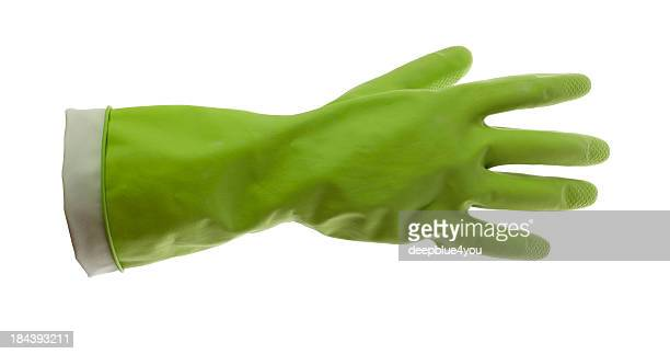 Green rubber glove on white