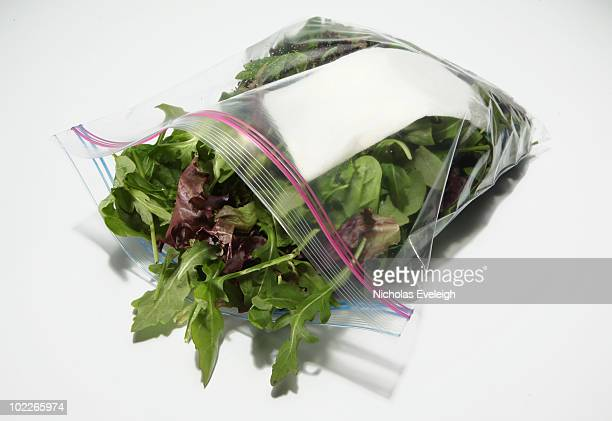 Green salad in a plastic bag