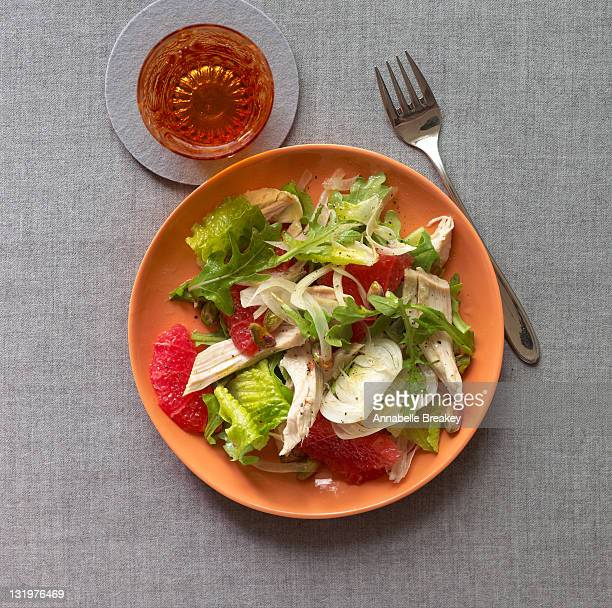 Green Salad with Chicken and Pink Grapefruit