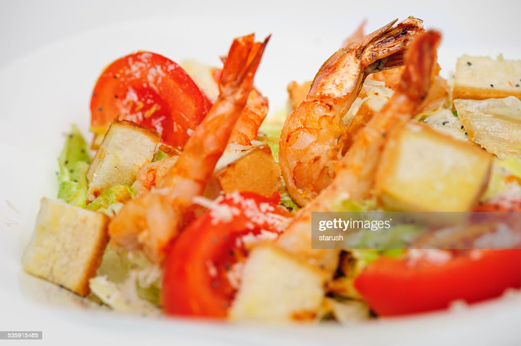Green salad with shrimps : Stock Photo