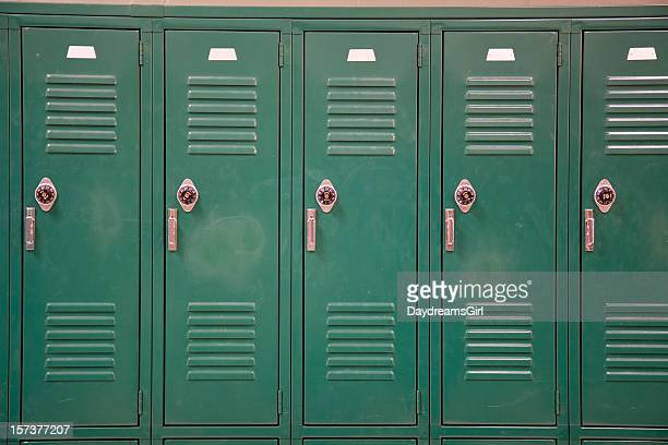 green school lockers with combination locks - locker room stock pictures, royalty-free photos & images