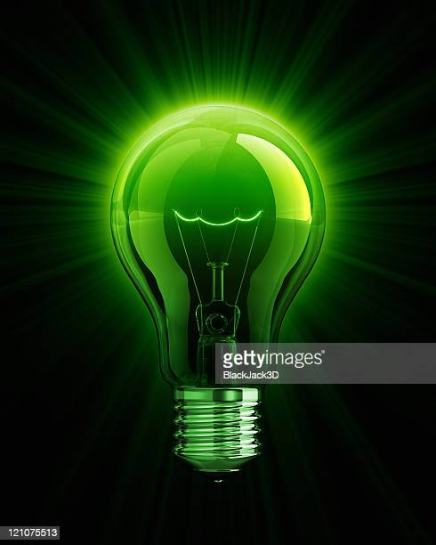 Green shine of Light Bulb