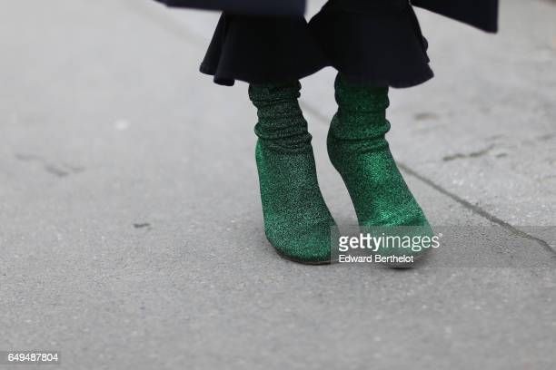 Green shoes are seen outside the Moncler show during Paris Fashion Week Womenswear Fall/Winter 2017/2018 on March 7 2017 in Paris France