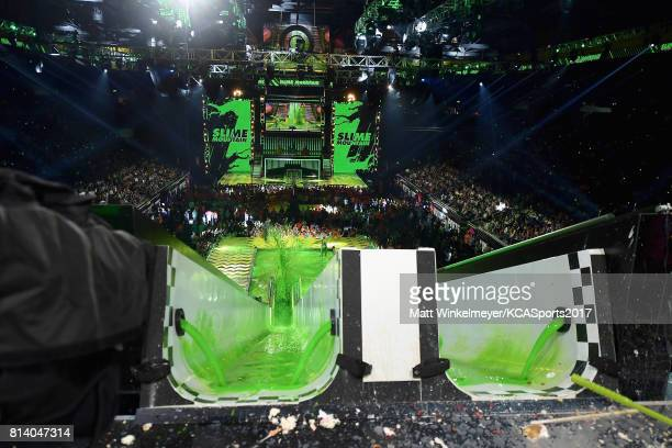 Green slime pours down a slide during Nickelodeon Kids' Choice Sports Awards 2017 at Pauley Pavilion on July 13 2017 in Los Angeles California