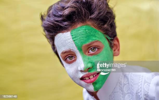 green smile ! - pakistani flag stock photos and pictures