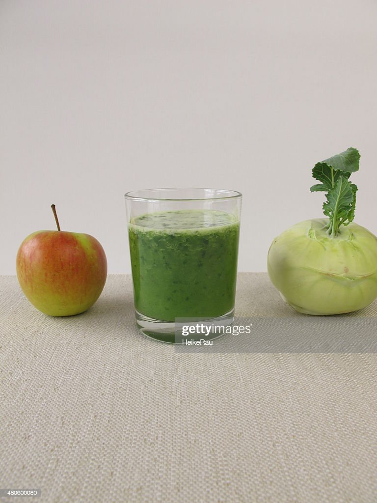 Green smoothie with apple and german turnip : Stock Photo