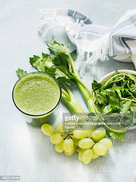 Green smoothie with celery and grapes