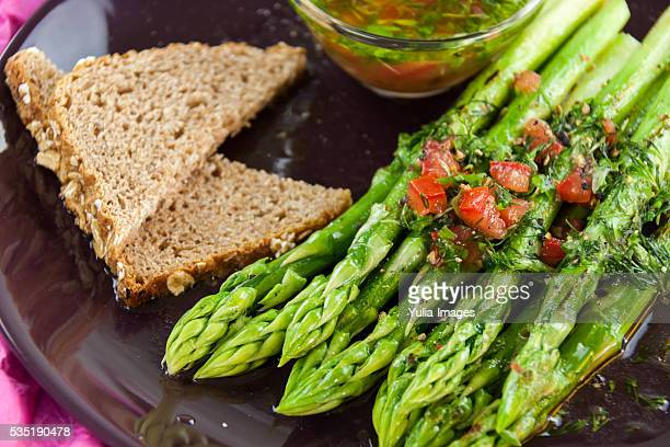 Green Spears of Asparagus with Side of Vinaigrette
