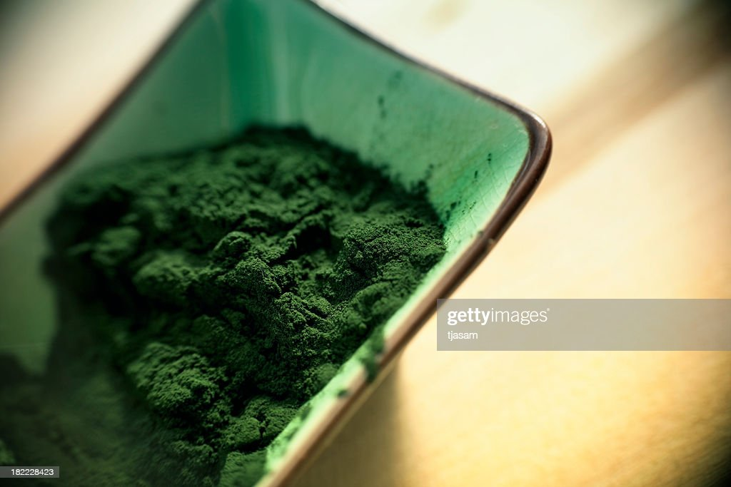 Green Spirulina Powder : Stock Photo