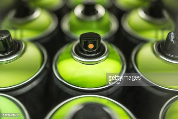 Green spray cans