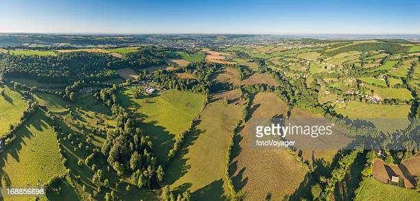 green summer fields patchwork landscape aerial panorama - overhemd en stropdas stock pictures, royalty-free photos & images