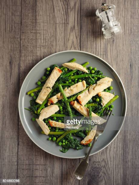 Green summer salad with grilled chicken breast