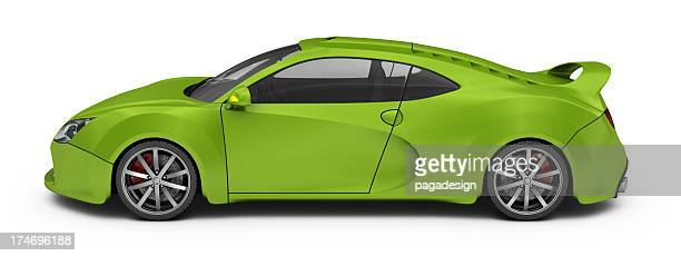 green supercar isolated - clip art stock pictures, royalty-free photos & images