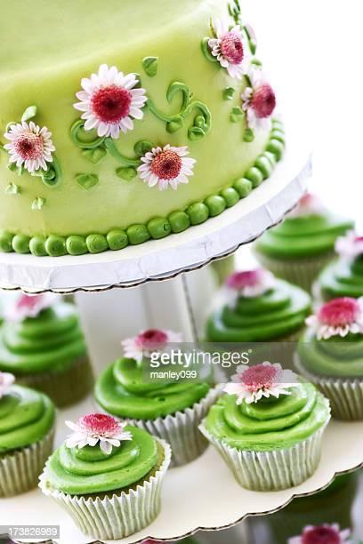 green tea and cupcake layered