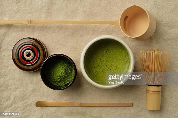 Green Tea and utensils for Japanese tea ceremony