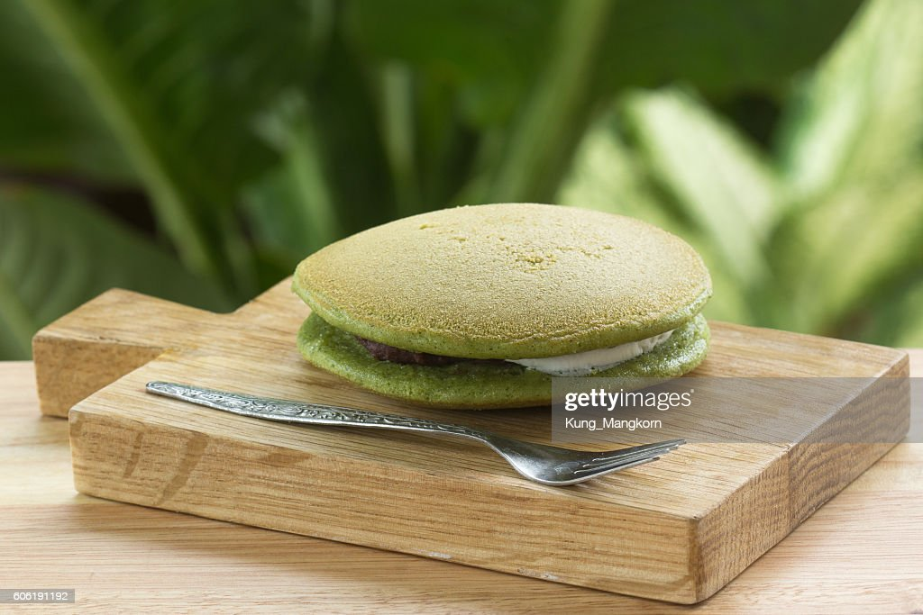 グリーンティーどら焼きパンケーキ : ストックフォト