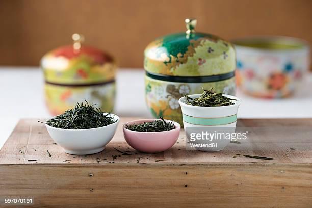 Green Tea, Gyokuro Shibushi, Sencha Kirishima and Bancha Shizuoka in bowls, from left